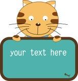 逗人喜爱横幅的猫 免版税库存照片