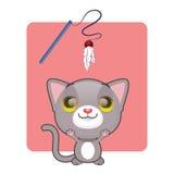 逗人喜爱灰色猫跳跃 库存图片