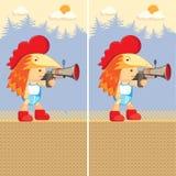 逗人喜爱男孩的动画片 与枪的字符 发现十个区别 免版税库存图片