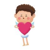 逗人喜爱的一点丘比特情人节桃红色心脏 免版税库存照片