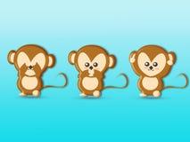 逗人喜爱的三部明智的猴子动画片背景 图库摄影