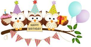 逗人喜爱的三头猫头鹰生日快乐 图库摄影