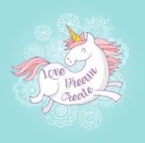 逗人喜爱的不可思议的unicon和彩虹海报,卡片 向量例证