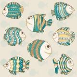 逗人喜爱的不同的鱼 向量例证