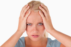 逗人喜爱的不快乐的妇女 免版税库存图片