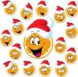 逗人喜爱的与圣诞老人盖帽的圣诞节橙色字符- xmas动画片传染媒介 库存例证