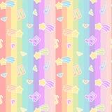 逗人喜爱的与星彗星、音乐笔记和金刚石的动画片五颜六色的混合无缝的样式背景例证在彩虹stri 向量例证