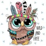 逗人喜爱的与羽毛的动画片部族猫头鹰 向量例证