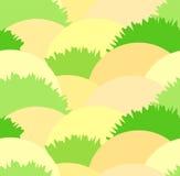 逗人喜爱的与草灌木和沙子的干草原无缝的样式 好的草本荒地绿色和黄色纹理 向量例证