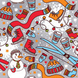逗人喜爱的与雪人和滑雪的冬天无缝的样式 库存图片