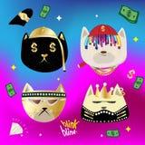 逗人喜爱的与Hip Hop样式的面孔猫手拉的动画片 免版税库存图片
