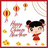 逗人喜爱的中国女孩在农历新年卡片设计的红色灯笼动画片例证后是愉快的 库存例证