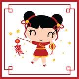 逗人喜爱的中国女孩演奏爆竹农历新年卡片设计的动画片例证 皇族释放例证