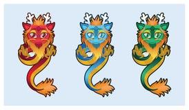 逗人喜爱的中国龙例证艺术 免版税图库摄影
