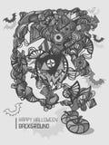 逗人喜爱的乱画动画片愉快的万圣夜手拉的例证 免版税图库摄影