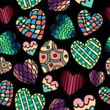逗人喜爱的乱画心脏无缝的样式 库存照片