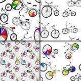 逗人喜爱的乱画自行车集合 向量例证
