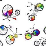 逗人喜爱的乱画自行车 皇族释放例证