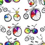 逗人喜爱的乱画自行车 库存例证