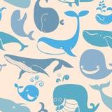 逗人喜爱的乱画蓝鲸 背景海洋无缝 免版税图库摄影