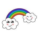 逗人喜爱的云彩和彩虹,儿童的例证,传染媒介 免版税库存照片