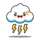 逗人喜爱的云彩雷电kawaii面孔象漫画人物平的设计传染媒介 免版税库存照片