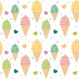 逗人喜爱的五颜六色的冰淇凌无缝的样式背景例证 免版税库存照片