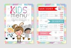 逗人喜爱的五颜六色的孩子膳食菜单传染媒介模板,孩子菜单,逗人喜爱的五颜六色的孩子膳食菜单设计 向量例证