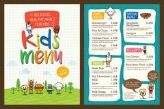逗人喜爱的五颜六色的孩子膳食菜单模板 免版税库存图片