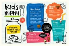 逗人喜爱的五颜六色的孩子膳食菜单模板 库存例证