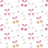 逗人喜爱的五颜六色的无缝的传染媒介样式背景例证用樱桃 库存例证