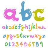 逗人喜爱的五颜六色的滑稽的字体 库存图片