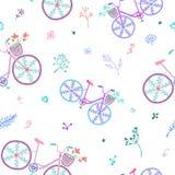 逗人喜爱的五颜六色的美丽的与装饰轮子和花的自行车无缝的样式 库存图片