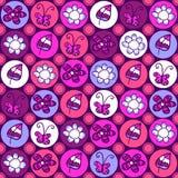 逗人喜爱的五颜六色的花卉无缝的样式 库存照片