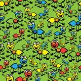 逗人喜爱的五颜六色的蚂蚁无缝的样式 库存图片