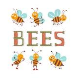 逗人喜爱的五颜六色的蜂字符设置了例证 库存例证