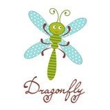 逗人喜爱的五颜六色的蜻蜓字符 皇族释放例证