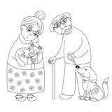 逗人喜爱的亲爱的祖母和祖父,孩子的彩图页 免版税库存图片