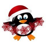 逗人喜爱的企鹅圣诞老人 库存例证