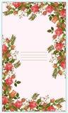 逗人喜爱的传染媒介,美丽的玫瑰明信片 免版税图库摄影