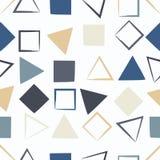 逗人喜爱的传染媒介几何无缝的样式 刷子冲程、三角和正方形 手拉的难看的东西纹理 抽象表单 免版税图库摄影
