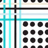 逗人喜爱的传染媒介几何无缝的样式 圆点和条纹 抽象画笔对跟踪的被绘的实际冲程纹理是 手拉的难看的东西纹理 摘要 库存照片
