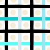 逗人喜爱的传染媒介几何无缝的样式 圆点和条纹 抽象画笔对跟踪的被绘的实际冲程纹理是 手拉的难看的东西纹理 摘要 免版税库存图片