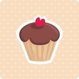 逗人喜爱的传染媒介杯形蛋糕有白色圆点背景 免版税库存照片