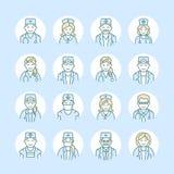 逗人喜爱的传染媒介线医生象  医院诊所线性商标 概述医疗标志-外科医生,心脏科医师,牙医 向量例证