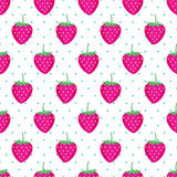 逗人喜爱的传染媒介草莓样式 无缝的背景用桃红色草莓 免版税库存图片