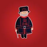 逗人喜爱的伦敦塔英王卫士字符 免版税库存照片