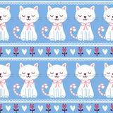 逗人喜爱的例证无缝与猫 免版税库存图片