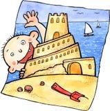 逗人喜爱的儿童和沙子城堡 免版税库存照片