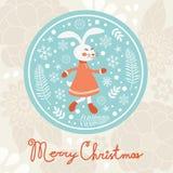 逗人喜爱的兔子女孩 袋子看板卡圣诞节霜klaus ・圣诞老人天空 免版税库存图片